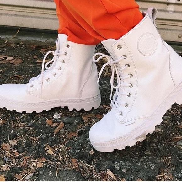LF Shoes | Womens White Palladium Boots